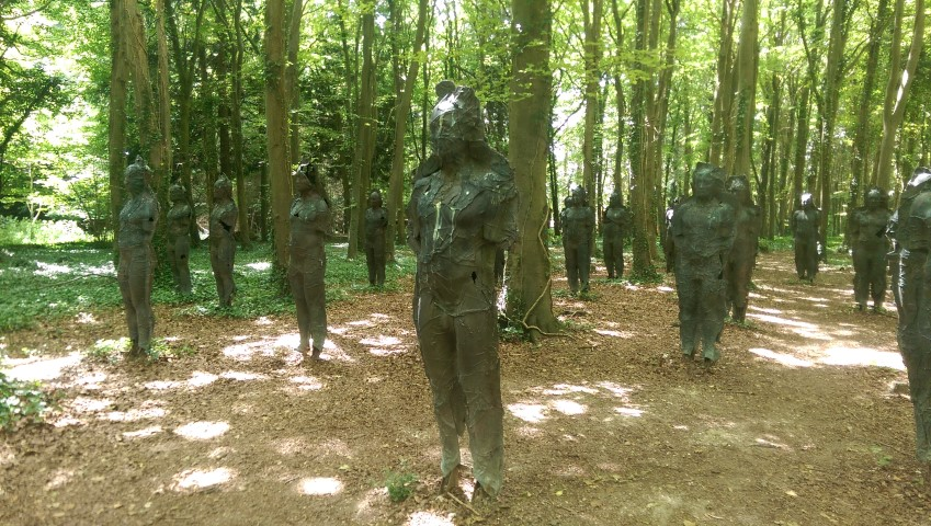 Eerie statues in the woods..more from Cass